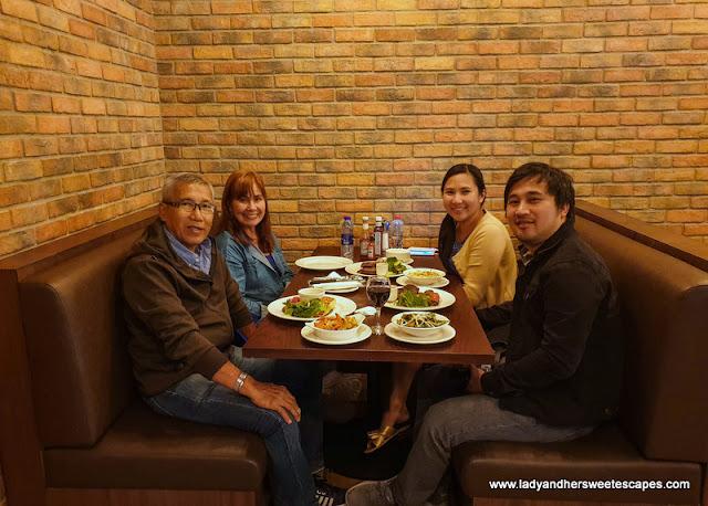 family dinner at Mr Toads Dubai