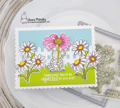 Spring Time A card by Diane Morales using the Garden Mice Stamp Set by Newton's Nook Designs