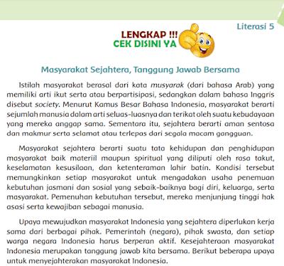 Kunci Jawaban Tematik Kelas 6 Tema 6 Literasi 5 Masyarakat Sejahtera, Tanggung Jawab Bersama www.simplenews.me