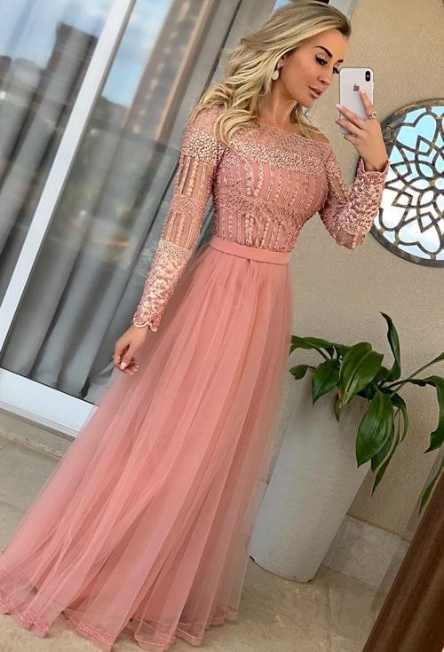vestido de festa longo rose com manga longa para madrinha de casamento