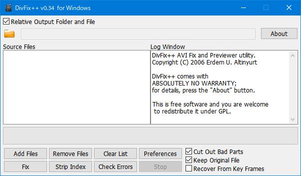 DivFix++を使った AVI ファイルのインデックス再構築