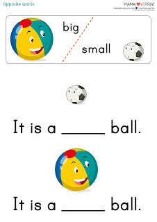Mama Love Print 自製工作紙 - 英文相反詞 Opposite Words for Kids 英文幼稚園工作紙  Kindergarten English Worksheet Free Download