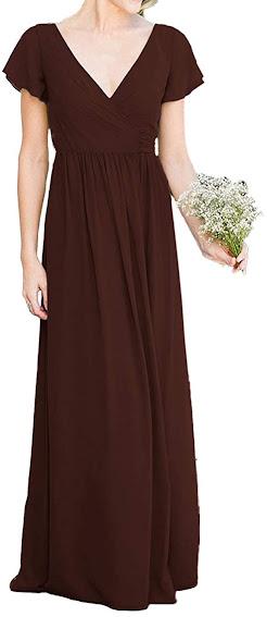 Long Brown Chiffon Bridesmaid Dresses
