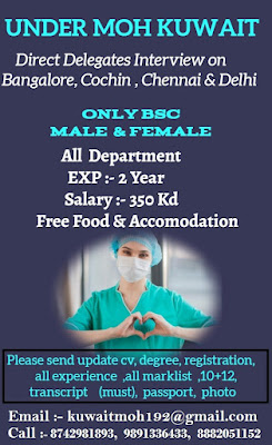 Urgently Required Male & Female Staff Nurses to Kuwait Under MOH