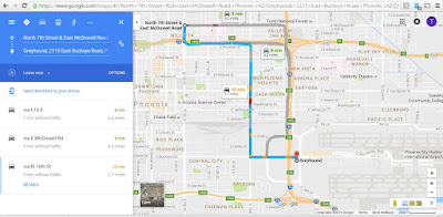 google maps route from McDonald's to the Greyhound Bus station