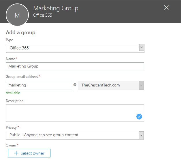 powershell to create office 365 group
