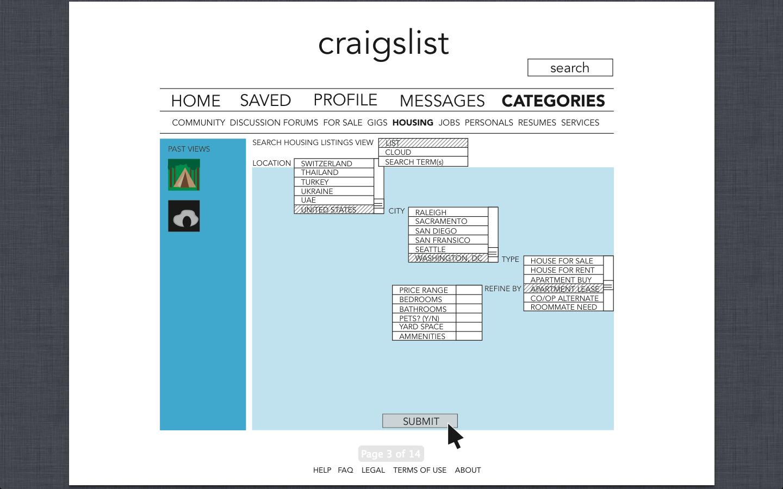 Craigslist Wireframe for Low Agreeableness | designbloggin