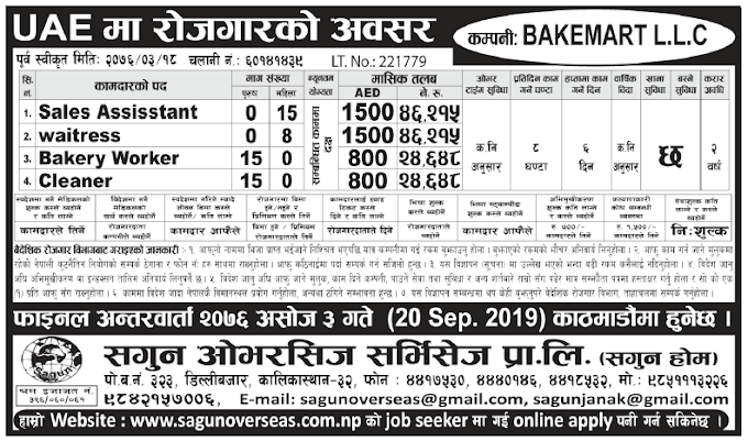 Jobs in UAE for Nepali, Salary Rs 46,215