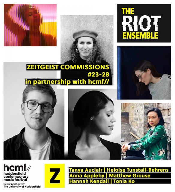 Six commissions announced for a future Huddersfield Contemporary Music Festival as part of the Riot Ensemble's Zeitgeist commissioning project