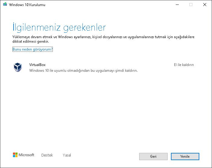 Windows Güncelleme VirtualBox Hatası [ÇÖZÜM]