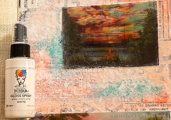 Layers of ink - Vellum Summer Art Journal Page Tutorial by Anna-Karin Evaldsson. Mist with acrylic spray.