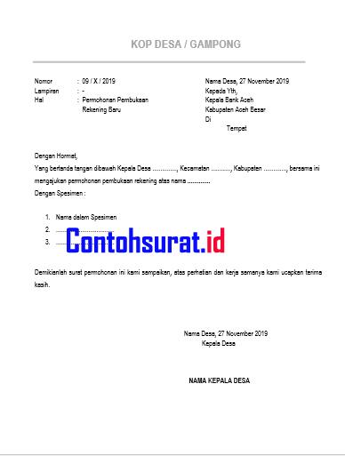 Surat Permohonan Pembukaan Rekening Bank Aceh