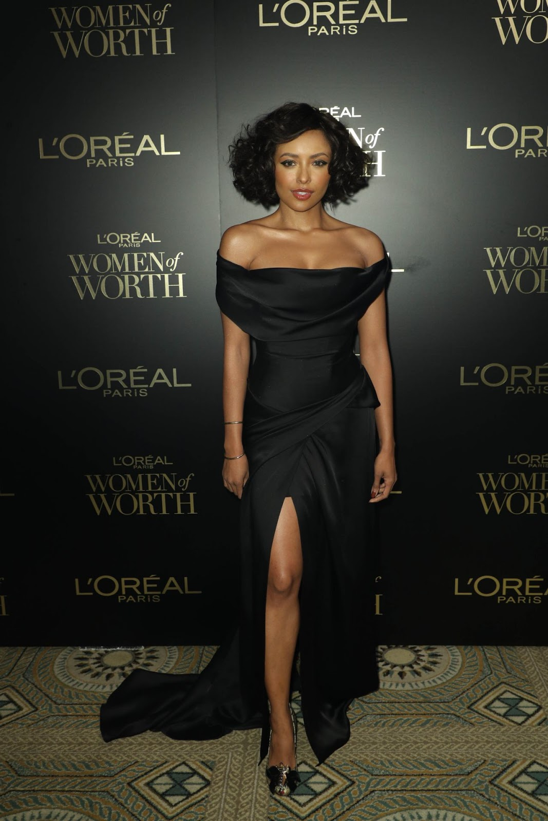 Kat Graham goes glam in off-shoulder dress at the L'Oreal Women of Worth Awards 2019 in NYC