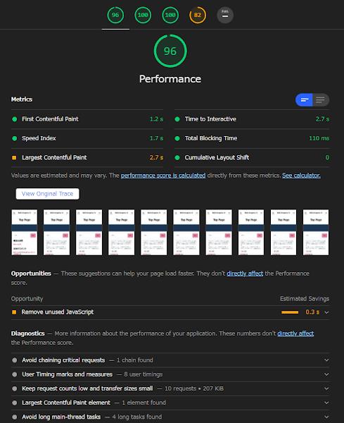 WP-Optimize キャッシュのパフォーマンス