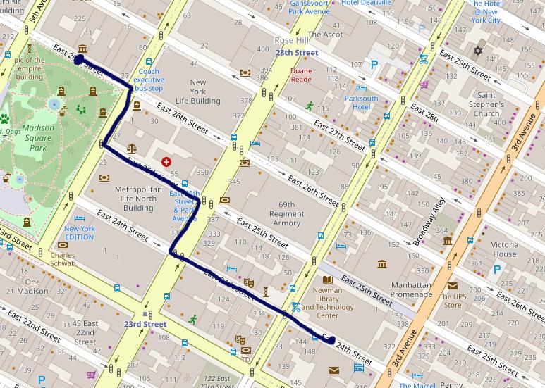 Pala Manhattanin karttaa, jossa näkyy ruutukaava.