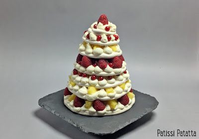 pavlova, fruits, meringue, chantilly, tutoriel vidéo, framboises, groseille, ananas, patissi-patatta