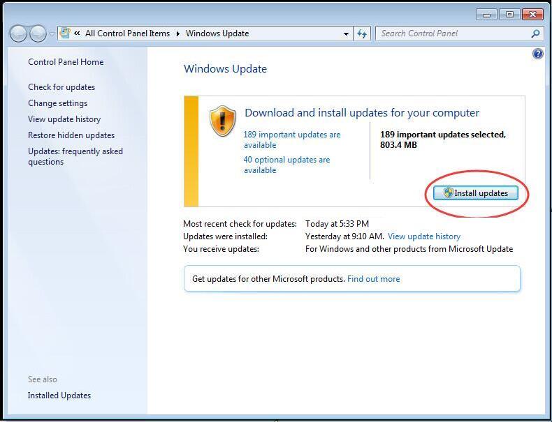Install Update windows 7