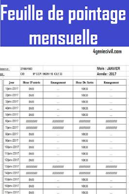 Exemple de modèle de feuille de pointage mensuelle en format excel en téléchargement gratui.