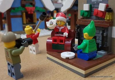 LEGO Winter Village Santa being filmed for the TV