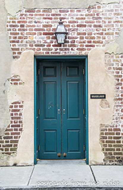 Charleston, South Carolina scenery. Such a gorgeous old turquoise door! ~ Postcards from the Ridge
