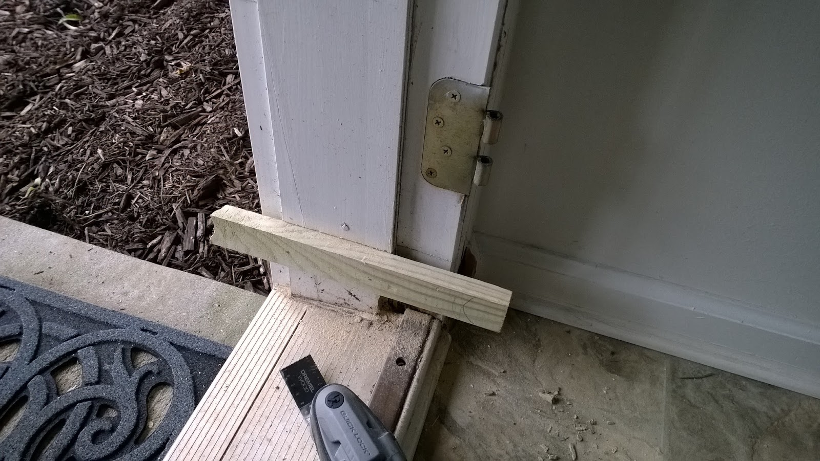 How i fixed a rotten door jamb openromain for Wooden back door and frame
