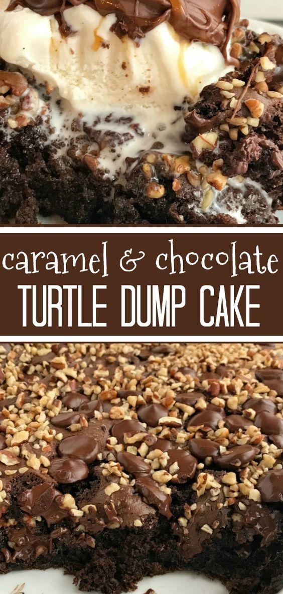 CARAMEL & CHOCOLATE} TURTLE DUMP CAKE
