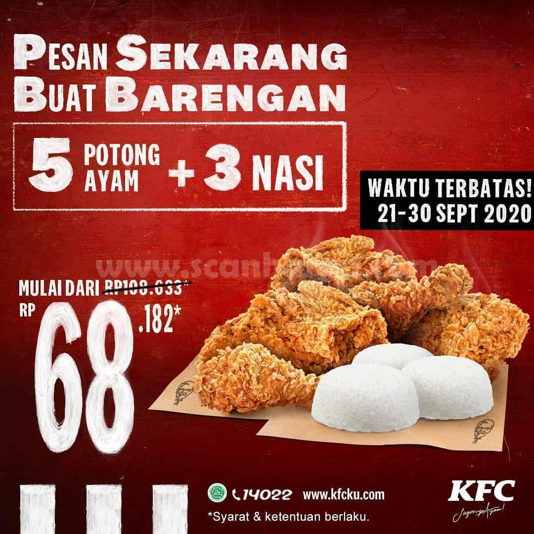 KFC Promo PSBB 5 Potong Ayam + 3 Nasi Cuma Rp 68.182