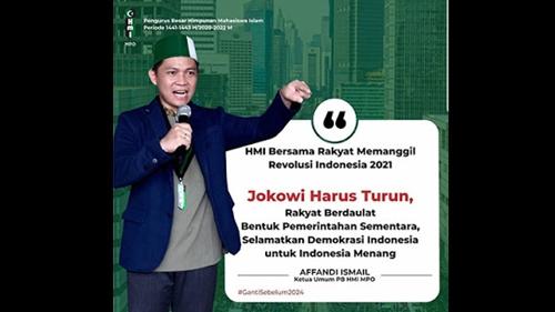 Sentil Jokowi Harus Turun, Formatur HMI MPO Jabagbar: Affandi Ismail Hanya Cari Sensasi