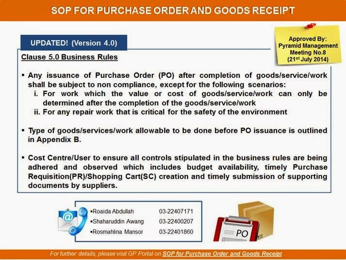 Revised Standard Operating Procedures for Purchase Order and