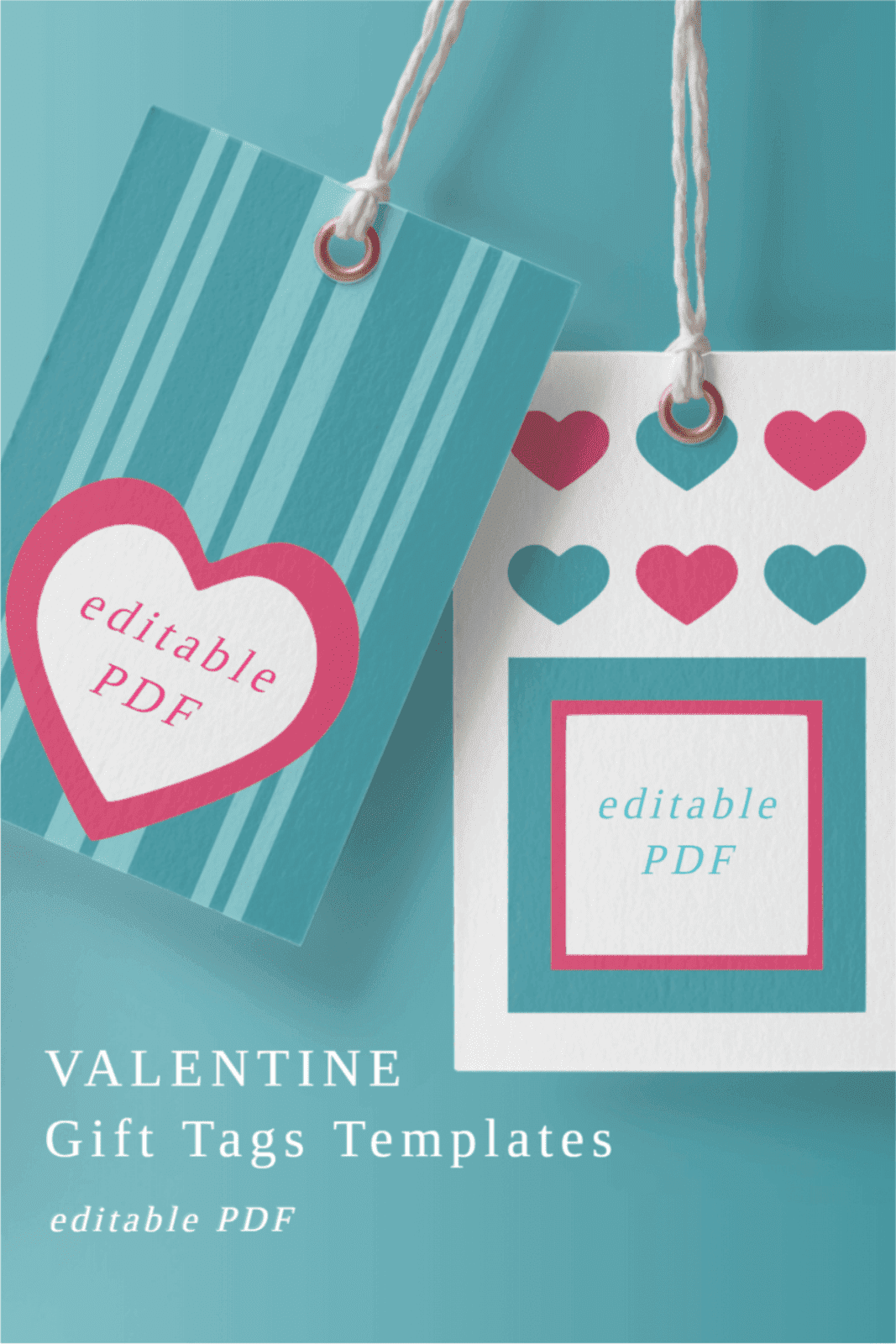 PINK AND BLUE TAGS WITH HEARTS