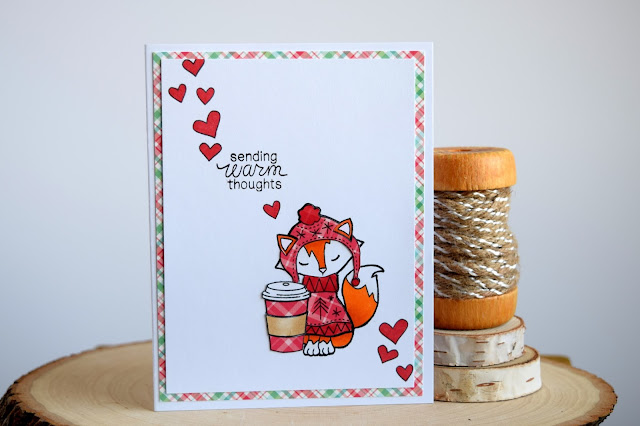Winter Coffee Fox Card by Jess Gerstner for Newton's Nook Designs