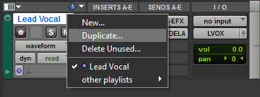 Pro Tools Channel Strip Showing The Duplicate Track Function