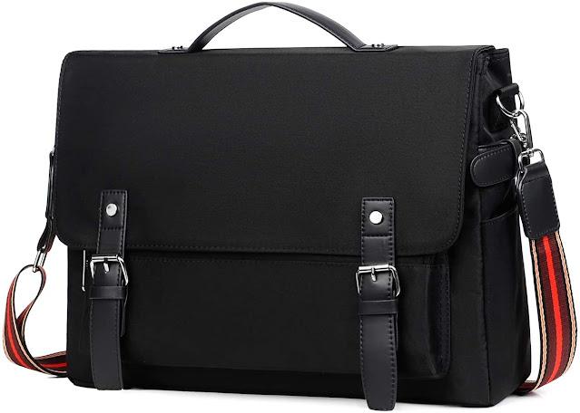 Kamlui Laptop Bag for Women,Computer Tote Bag 15.6 Inch Waterproof Vintage Canvas Briefcase Large Satchel Shoulder Messenger Men Women Laptop Case,for Macbook Pro Air HP Dell,(Black)