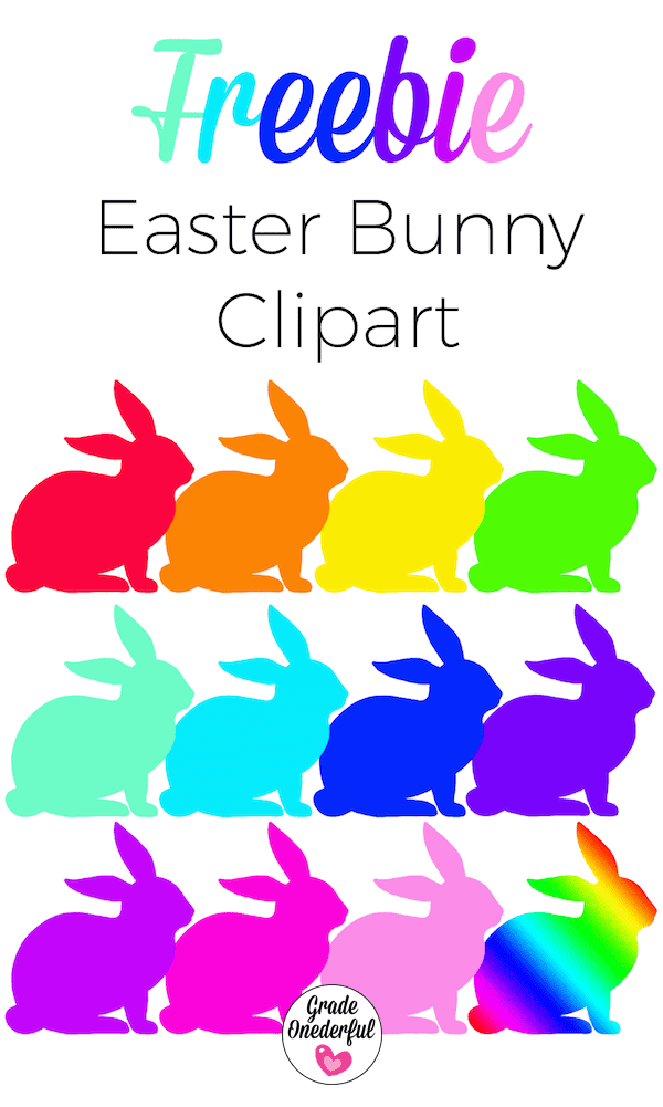 Free Easter Bunny clipart in 12 beautiful colours!