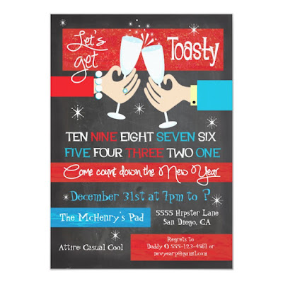 Lets Get Toasty - Retro Hip New Year's Eve Party Invite