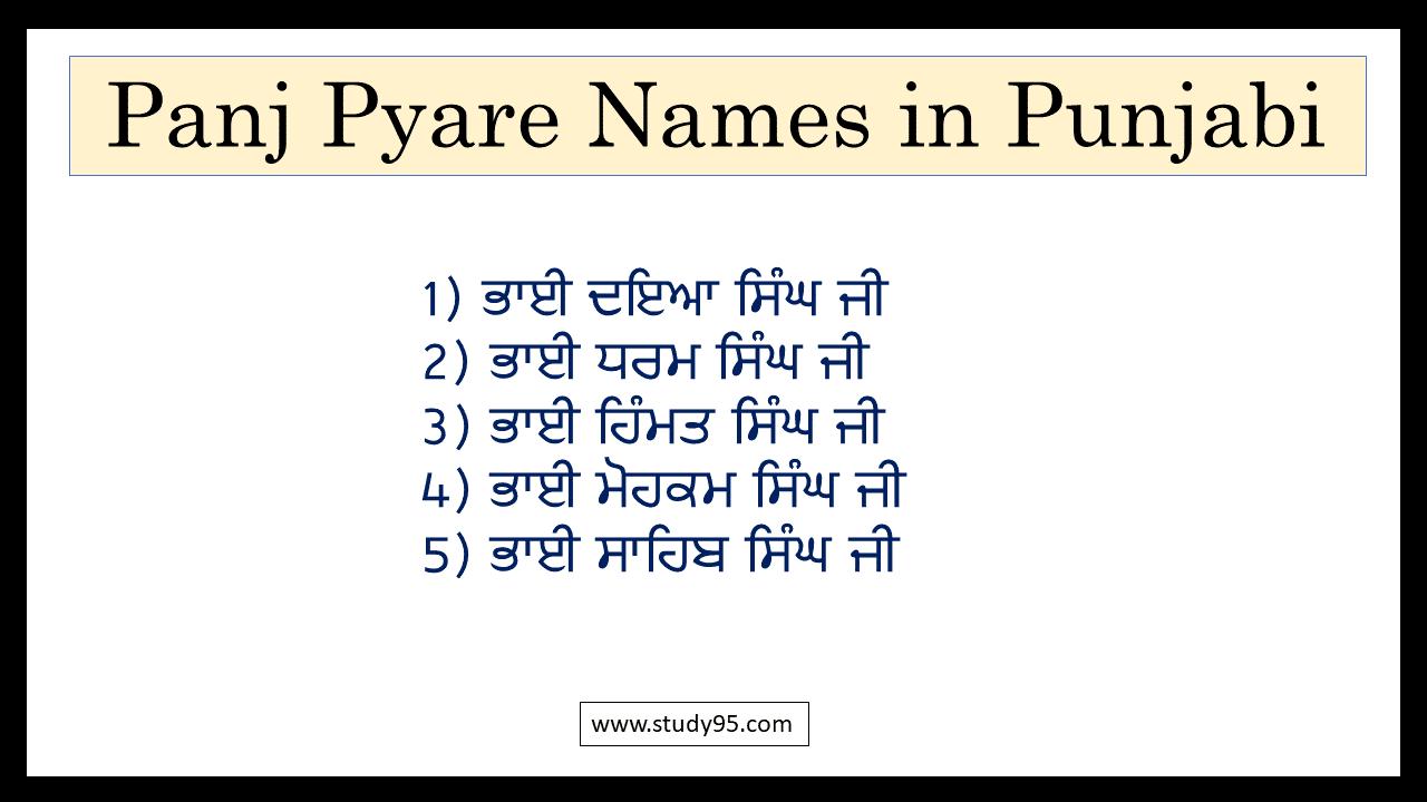 5 Pyare Names in Punjabi Language