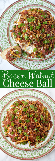 Bacon Walnut Cheese Ball features a cheese ball made with sharp cheddar cheese, fresh green onion, crispy bacon and bacon toasted walnuts. Served with garlic crostini for an indulgent, creamy and rich dip! #bacon #appetizer #cheeseball #cheese #holidays