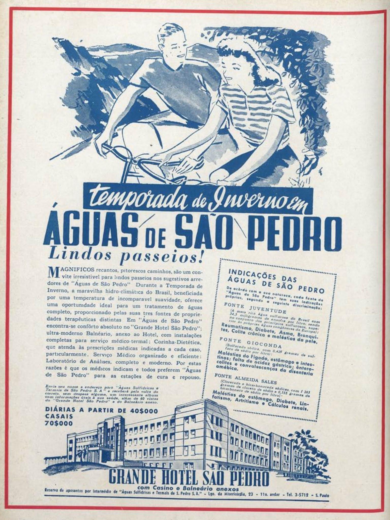 Anúncio de 1941 promovendo as instalações do Grande Hotel São Pedro, no interior de São Paulo