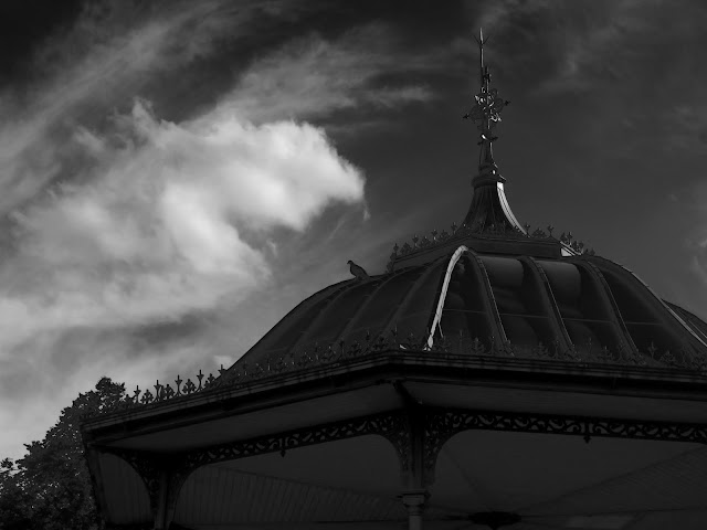 Pigeon on bandstand roof.