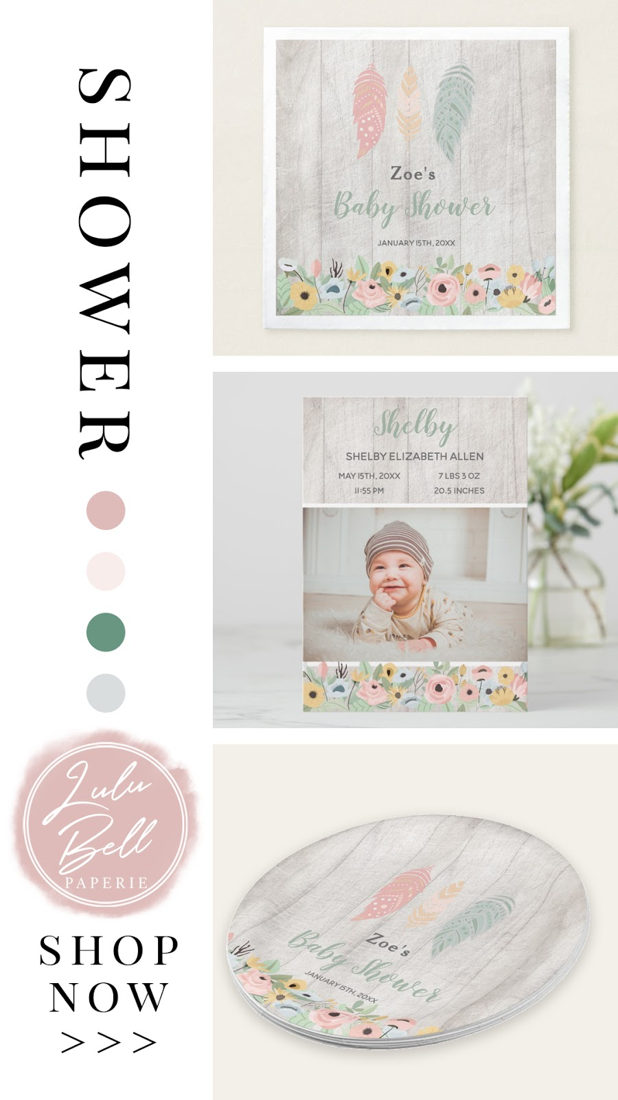 Coordinating Collection of Boho Baby Nursery Decor, Shower Invitations Party Suite, and Paint Color Palettes for Your Baby Girl. With Feathers, Deer, Flowers, Wood, and Birds. In Pink, Blush, Green, and Pale Gray.