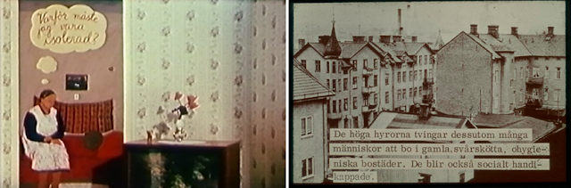 "Left: Still from the YouTube film Riksutställningar 1965-2017, ""Why do I have to be isolated?""  Right: Image from the exhibition, ""The high rents furthermore force many people to live in old, rundown, unhygienic homes. They also become socially handicapped."""