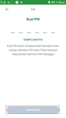 membuat pin di aplikasi mobayar