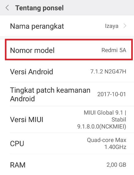 Nomor Model Hp Xiaomi
