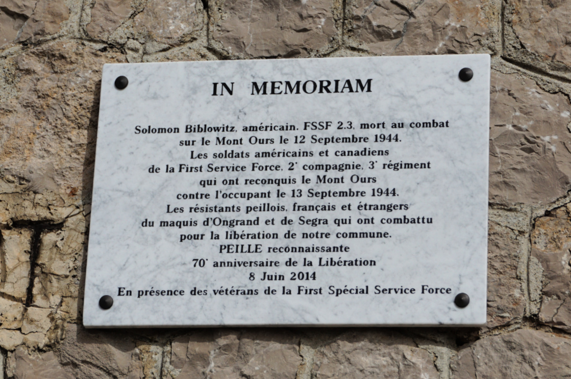Plaque on Mont Ours
