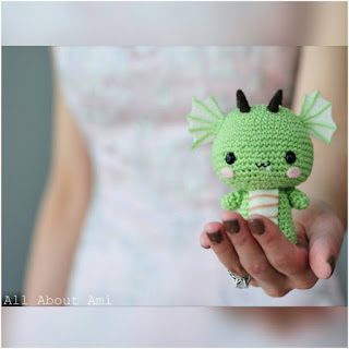 patron amigurumi Dragón all about ami