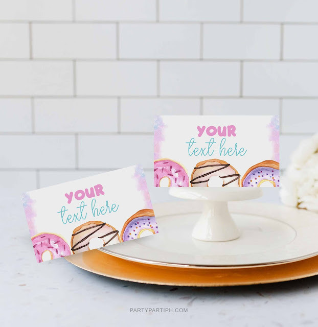 donut birthday place cards