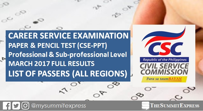 List Of Passers: Civil Service Exam Results March 12, 2017 Cse-Ppt