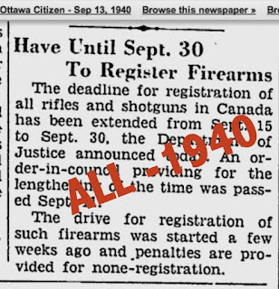 Registration of ALL firearms in Canada - WW2 law