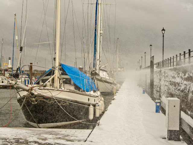 Photo of Maryport Marina during a snow storm caused by the Beast from the East