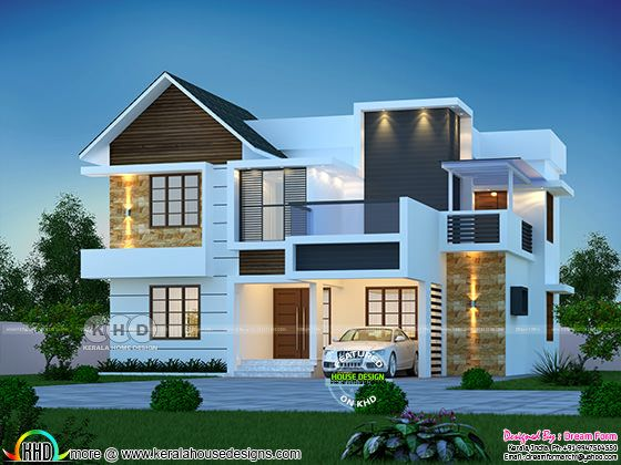 4 bedroom beauticul mix roof house rendering